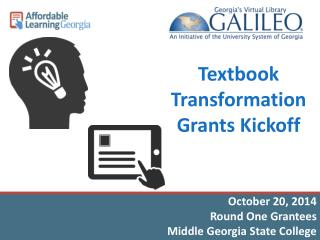 Textbook Transformation Grants Kickoff