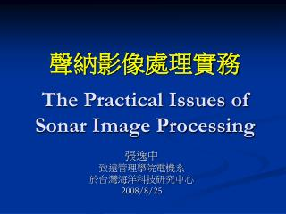 The Practical Issues of Sonar Image Processing