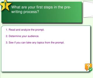 What are your first steps in the pre-writing process?