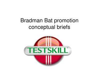 Bradman Bat promotion conceptual briefs