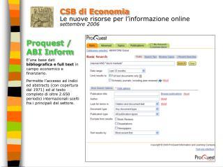 CSB di Economia Le nuove risorse per l'informazione online settembre 2006