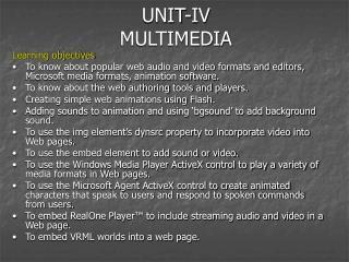 UNIT-IV MULTIMEDIA