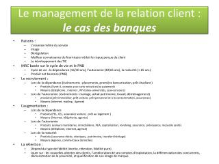 Le management de la relation client :  le cas des banques