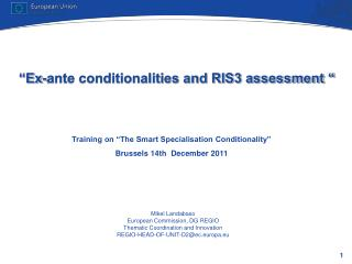Ex-ante conditionalities and RIS3 assessment