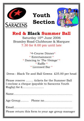 Red  Black Summer Ball Saturday 10th June 2006
