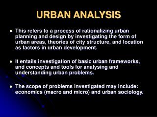 URBAN ANALYSIS