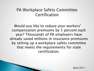 PA Workplace Safety Committee Certification