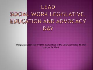 LEAD Social Work Legislative, Education and Advocacy Day