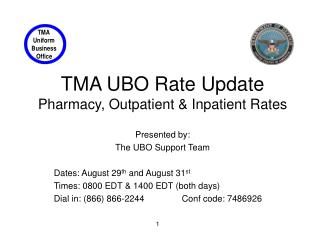 TMA UBO Rate Update Pharmacy, Outpatient  Inpatient Rates
