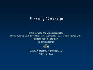 Security Codesign