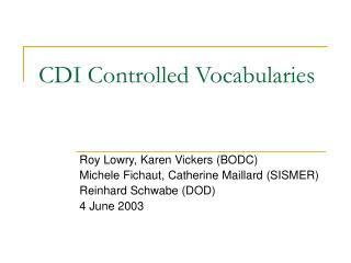 CDI Controlled Vocabularies