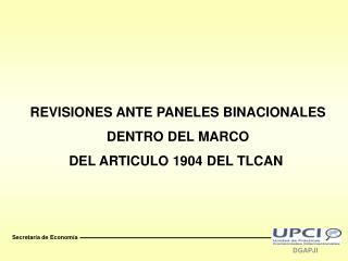 REVISIONES ANTE PANELES BINACIONALES DENTRO DEL MARCO DEL ARTICULO 1904 DEL TLCAN
