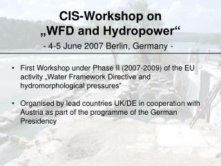 """CIS-Workshop on  """"WFD and Hydropower"""""""