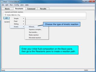 Enter your initial fluid composition on the Basis pane,