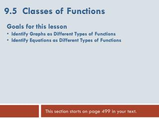 9.5  Classes of Functions