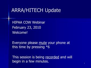ARRA/HITECH Update