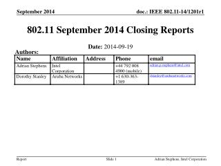802.11 September 2014 Closing Reports