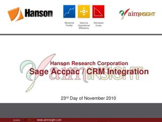 Hanson Research Corporation Sage  Accpac  / CRM Integration