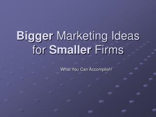Bigger  Marketing Ideas for  Smaller  Firms
