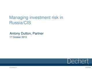 Managing investment risk in Russia/CIS