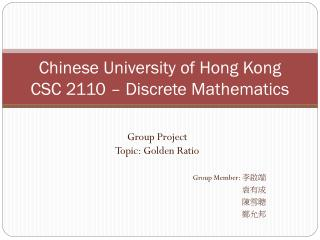 Chinese University of Hong Kong CSC 2110 – Discrete Mathematics