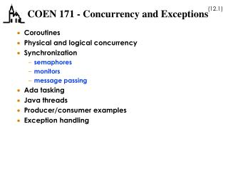 COEN 171 - Concurrency and Exceptions