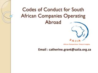 Codes of Conduct for South African Companies Operating Abroad