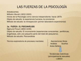 LAS FUERZAS DE LA PSICOLOGÍA