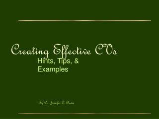 Creating Effective CVs