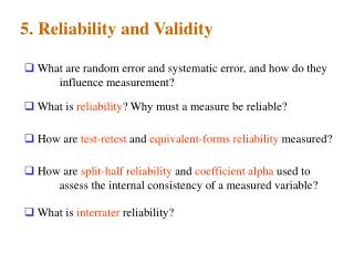 5. Reliability and Validity