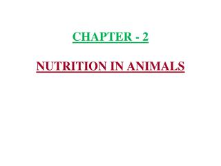 CHAPTER - 2 NUTRITION IN ANIMALS