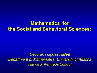 Mathematics  for  the Social and Behavioral Sciences: