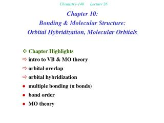 Chemistry-140      Lecture 26