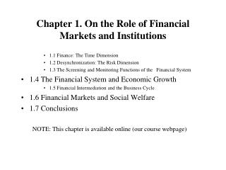 Chapter 1. On the Role of Financial Markets and Institutions