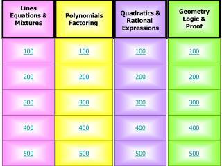 Lines Equations  & Mixtures