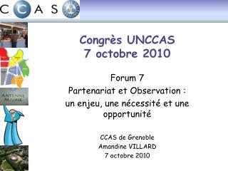 Congrès UNCCAS 7 octobre 2010