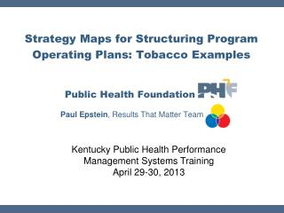 Strategy Maps for Structuring Program Operating Plans: Tobacco Examples