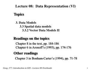 3. Data Models      3.3 Spatial data models         3.3.2 Vector Data Models II