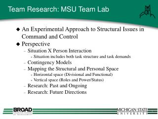 Team Research: MSU Team Lab