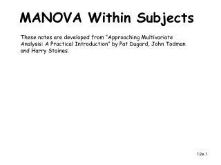 MANOVA Within Subjects