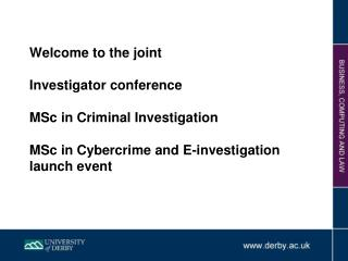 MSc. in Criminal Investigation