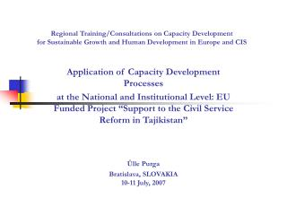 Application of Capacity Development Processes