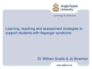 Learning, teaching and assessment strategies to support students with Asperger syndrome