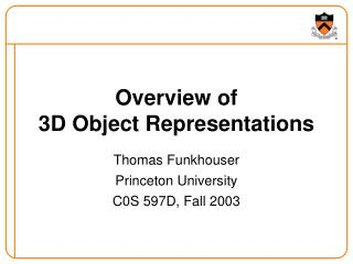 Overview of 3D Object Representations