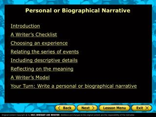 P ers onal or Biographical Narrative
