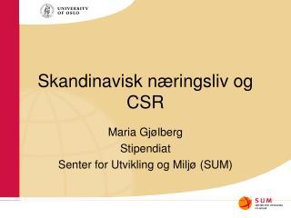 Skandinavisk næringsliv og CSR