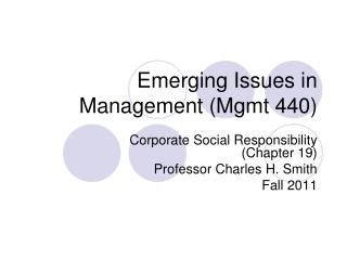 Emerging Issues in Management (Mgmt 440)