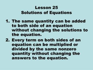 Lesson 25 Solutions of Equations