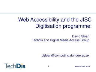 Web Accessibility and the JISC Digitisation programme: