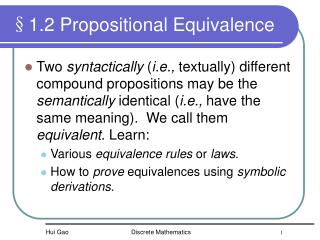 §1.2 Propositional Equivalence